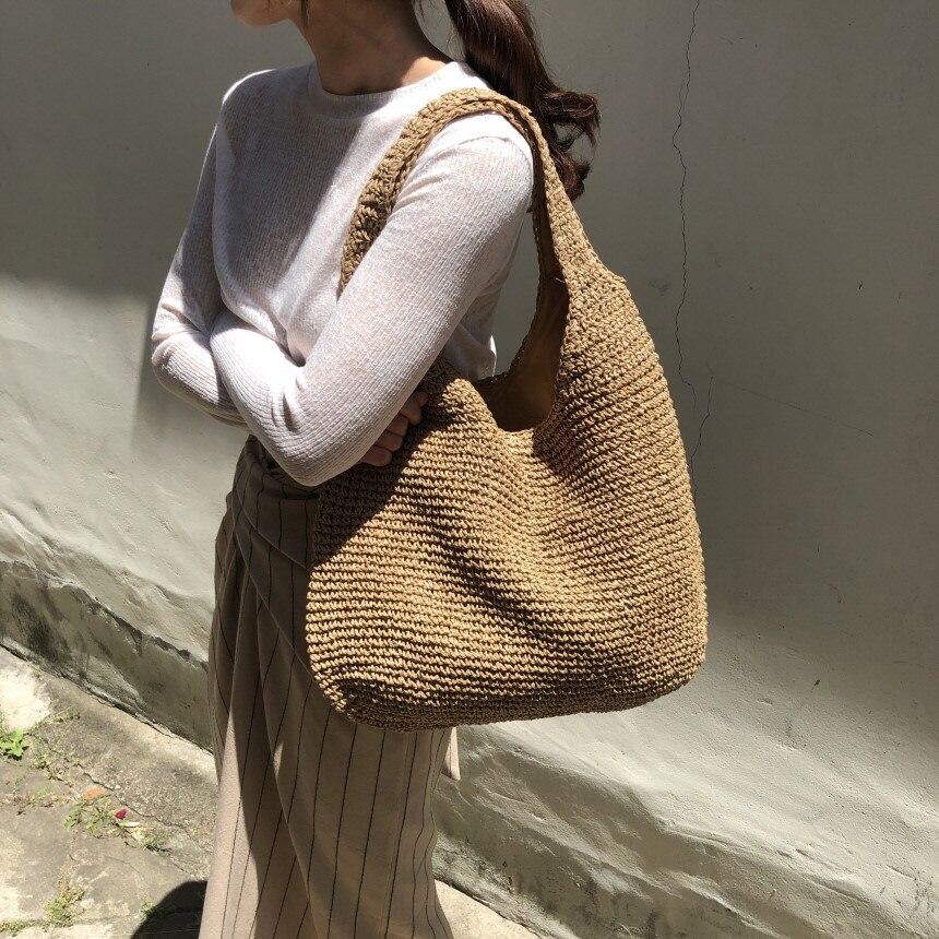 Модные женские сумки на плечо из ротанга, плетеные женские сумки, большая емкость, летние пляжные соломенные сумки, повседневные сумки, кошельки, 2019|Сумки с ручками|   | АлиЭкспресс