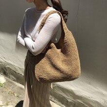 패션 등나무 여성 숄더 가방 Wikcer 짠 여성 핸드백 대용량 여름 해변 밀짚 가방 캐주얼 토트 지갑 2019