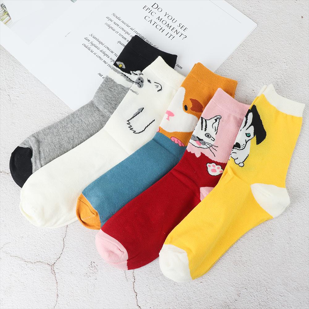 1 Paar Frauen Neue Wandern Socken Cartoon Tier Muster Socken Voller Baumwolle Socke Haustier Hund Katze Läuft Socke Fabriken Und Minen