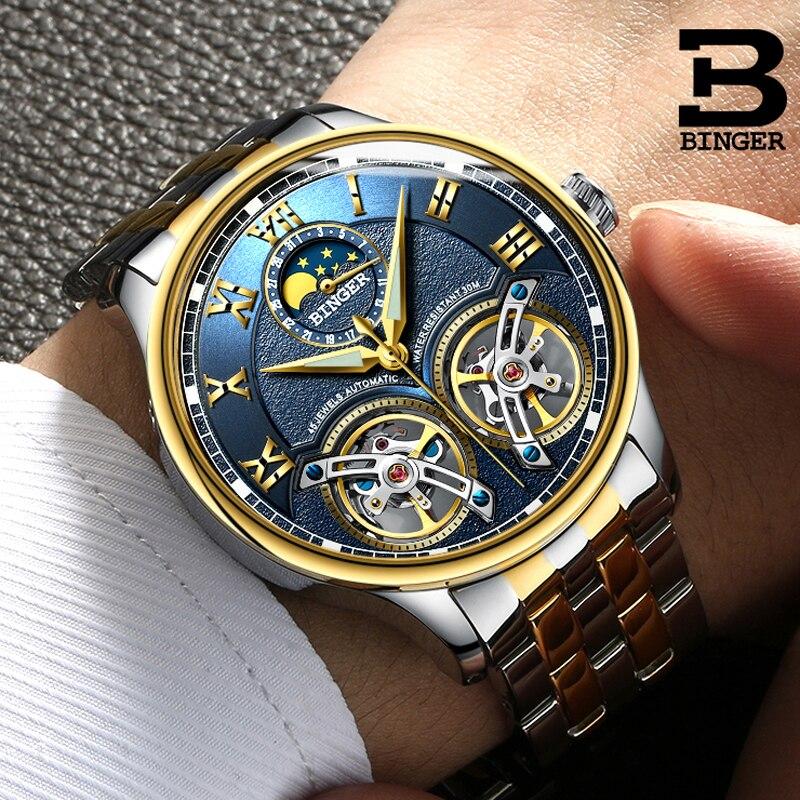 8f06a9cf9a3 Dos Homens Originais de Marcas de Relógios Suíça BINGER duplo Turbilhão  Relógio Automático Auto-Vento