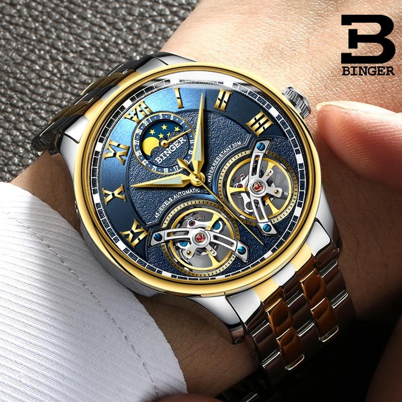 Двойной турбийон Швейцарии бренды часы Бингер оригинальный Для мужчин автоматические часы self-ветер Мода Для мужчин механические наручные ...