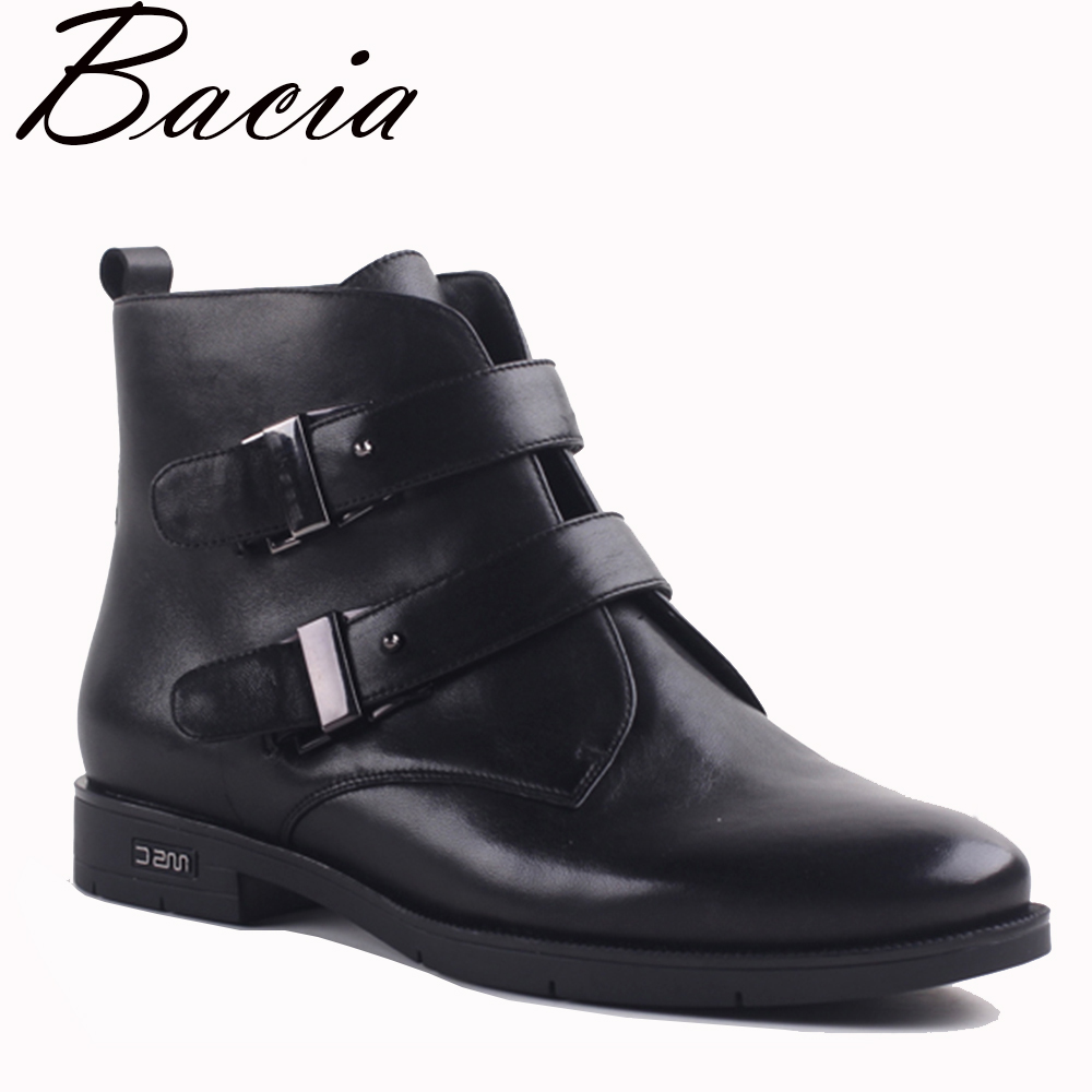 Bacia Ankle Boots Women Luxury Genuine Leather Boot Winter Shoe Handmade Black Fashion Autumn Boots Short Plush Shoes VXA021 bacia women high heels ankle boots genuine leather shoes warm short plush inside autumn fashion pure black botas mc023