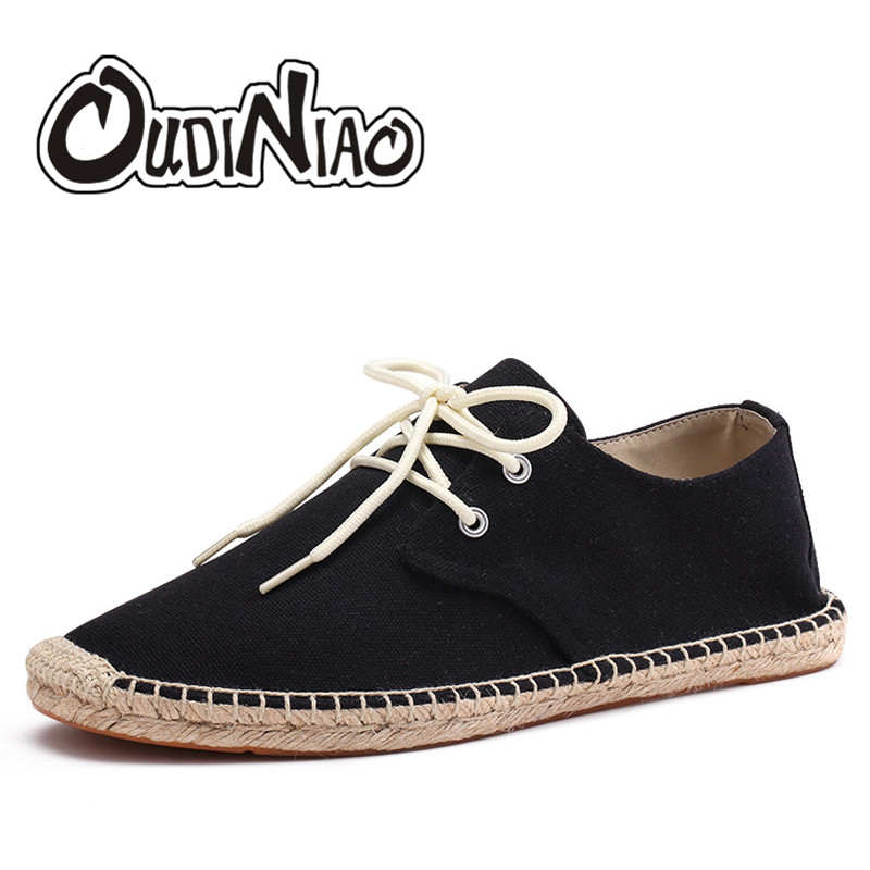 OUDINIAO Hemp Rope Mens Shoes Summer Lace Up Solid Espadrilles Men 2018 Canvas Shoes Men Fashion Breathable Men's Loafers fashion men s canvas shoes with solid color and lace up design