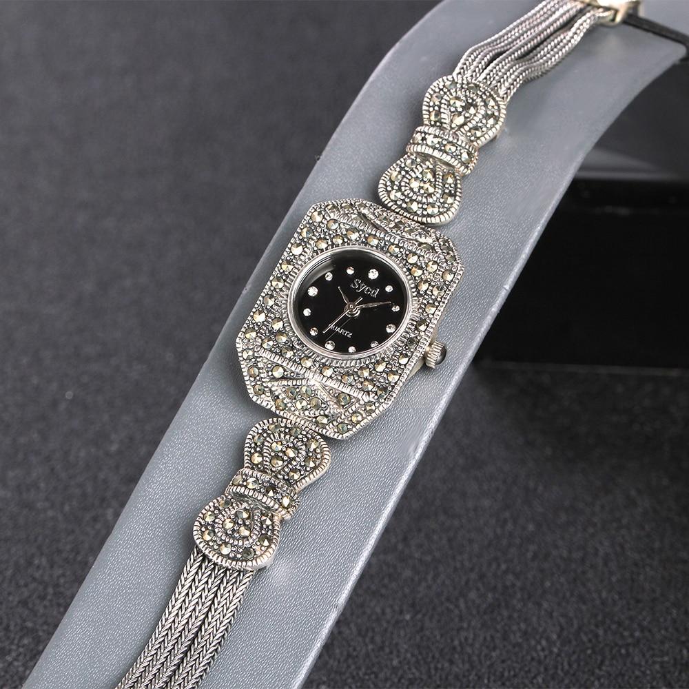 JIASHUNTAI 100% Prata 925 Relógio Do Vintage Para Mulheres Retro Relógio Relógio Pulseiras Do Sexo Feminino Jóias de Prata Esterlina 925 - 5