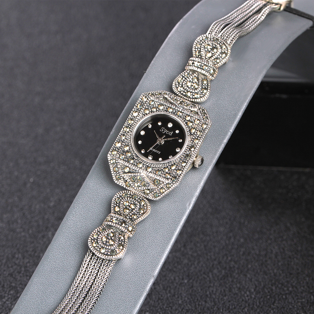 JIASHUNTAI Vintage 100% Silver 925 Watch For Women Retro 925 Sterling Silver Clock Female Bracelets Watch Jewelry - 5