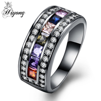HIYONG Vintage Colorful CZ Ring Flat Round Link Plain Brass Band Woman Wedding Multicolor Rings Three