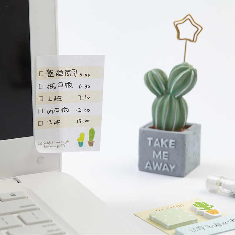 Креативные милые кактус блокноты для записей кавайный планировщик липкие самоклеющиеся бумажные наклейки для заметок школьные офисные канцелярские принадлежности