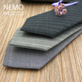Microfiber Wool Ties for Mens Suit Accessories 7cm Formal Designer Necktie Stripe High Quality Handmade Luxury Grey Black Tie