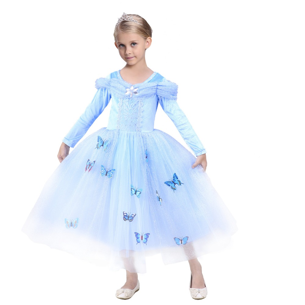 blue elsa cinderella princess costume halloween costumes for kids stage magic fairy princess dress cosplay size s xxl - Halloween Costumes Of Elsa