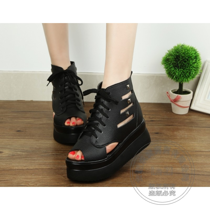 ФОТО Ladies Modern Designer Shoes Young Girl Famous Pu Fish Mouth Shoes High Heels Wedge Caged Plain Women Fashion Shoes Soft Leather