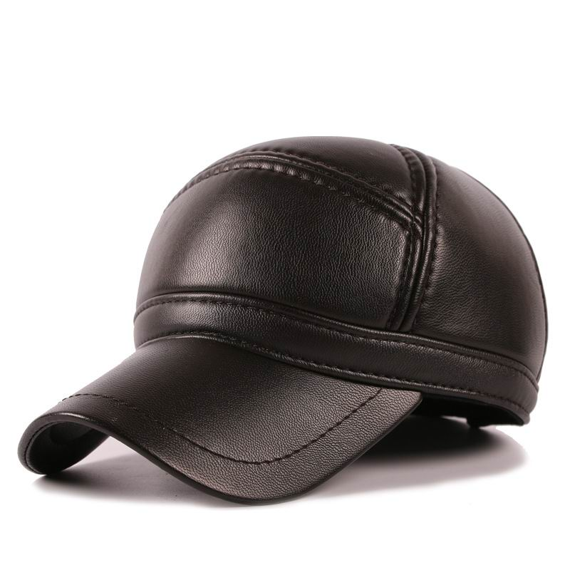 black leather baseball cap wholesale faux font warm winter male with fur pom