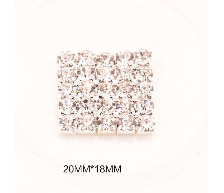 Украшение из горного хрусталя без петли, используемое на пригласительной карте 18 мм* 20 мм, 20 шт./партия, с плоской задней поверхностью, серебристого цвета, KD43