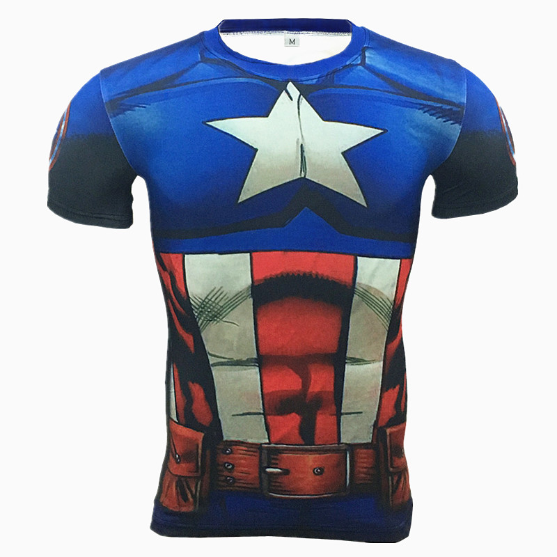 2016 Marvel Captain America Punisher Super Hero compression Civil War Tee 3D Printed T-shirts Men fitness Clothing T shirt