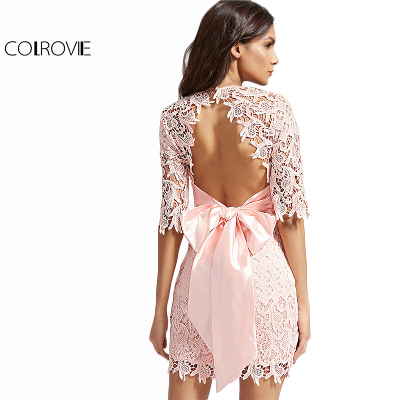 COLROVIE Vintage Lace Dress Women Pink Bow Tie Open Back Embroidery Bodycon Summer Dresses 2017 New