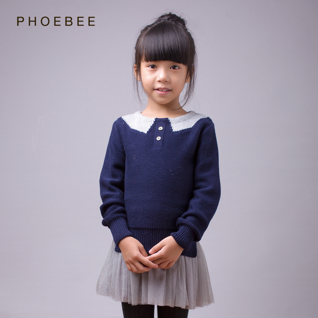 wool sweaters brand phoebee 2-8 years Pullover for girls winter sweater girls clothing patchwork collar knitted blue Apricot
