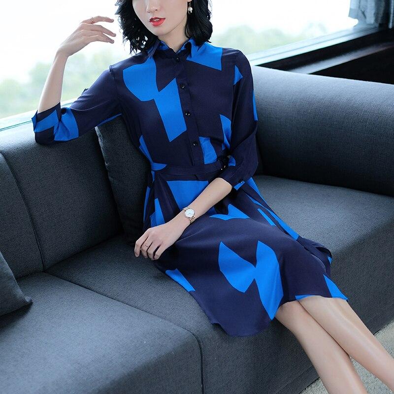 rouge Sexy Bleu Soie Coréenne ligne Élégante Automne Verano Femme Vêtements Robes Femmes Bureau Robe A Faux Dames Partie TfCqC