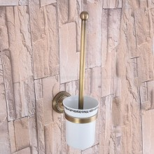 цена Toilet Brush Holders Antique Brass Toilet Brush Holder With Ceramic Cup Household Products Bathroom Decoration zba268
