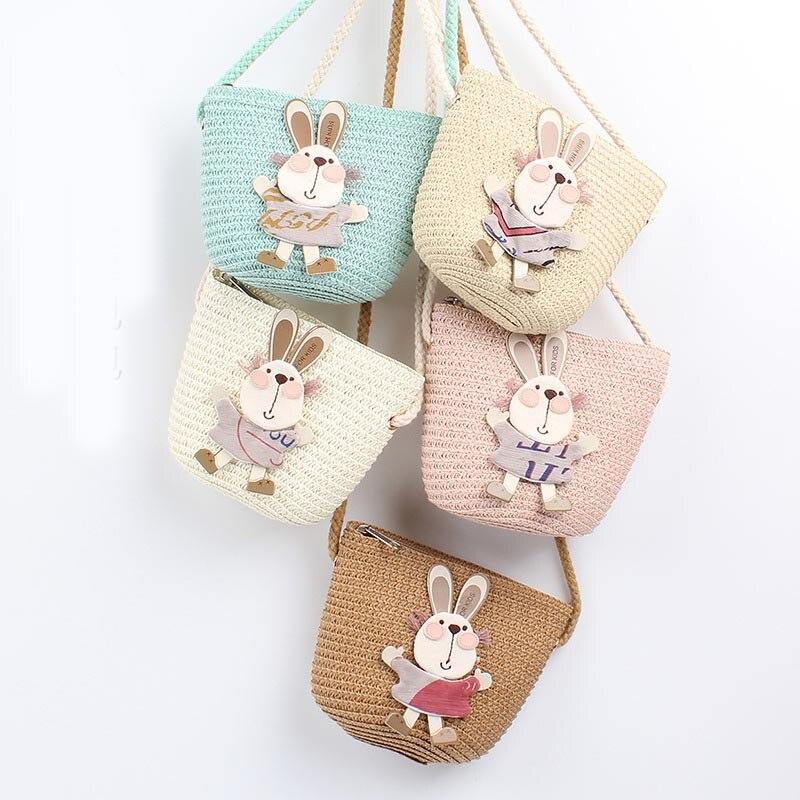 Fashion Children Girls Shoulder Bag Cut Rubbit Animals Straw Messenger Bag Kids Keys Coin Purse Cute Princess Mini Handbag