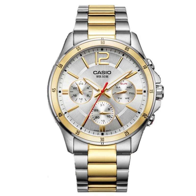 Casio Новая мода Бизнес 50 м водонепроницаемые часы Для мужчин мужские спортивные водонепроницаемые кварцевые часы ремень MTP-1374 Relogio Masculino Для м...