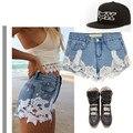 1996 Chegada Nova Marca de Moda das Mulheres Do Vintage Borla Rendas Rasgado Soltas de Cintura Alta Shorts Jeans Do Punk Sensuais Shorts Jeans