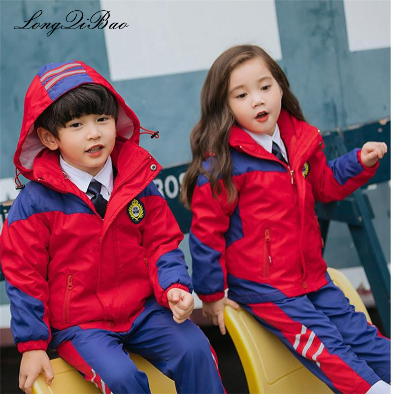 Boys and girls windproof waterproof three-in-one padded jacket kindergarten clothing primary and secondary school uniforms купить недорого в Москве