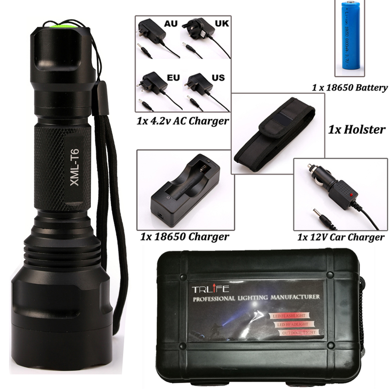 LED CREE lampe de Poche C8 8000 lumens XM-L2/T6 Haute Puissance Lampe Tactique Camping Lumière + Chargeur + 1*18650 Batterie + Étui