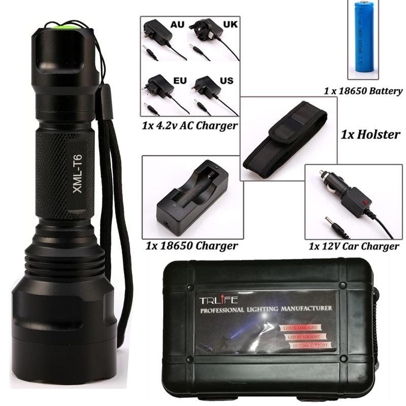 LED lampe de Poche C8 8000 lumens XM-L2/T6 Haute Puissance Tactique lampe de Poche Camping Lumière + Chargeur + 1*18650 batterie + Étui