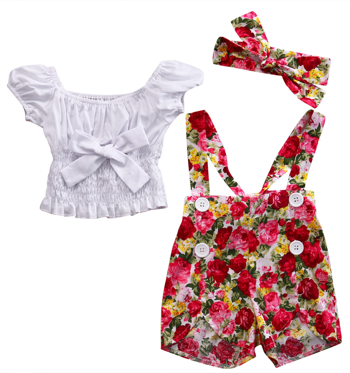 Sequins Tassel Shorts+Lace Bowknot Headband Outfits Mrs.BakerHome 3pc Baby Girl Print Romper