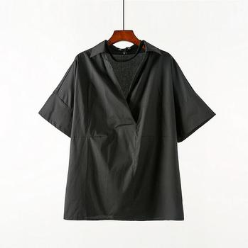 Summer thin new short-sleeved shirt Men loose Plus size clothes V-neck top male personality ice silk breathable wild shirts tide