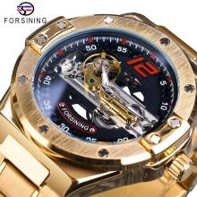 Forsining Automatic Male Watch Golden Bridge Transparent Stainless Steel Band Racing Man Mechanical Wristwatch Relogio Masculino