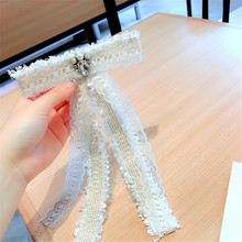 Korea Handmade Vintage Lace Solid Bowknot Pearl Rhinestone Shirt Pins Neck Bow Tie Accessories Fashion Jewelry-YHNLB046F