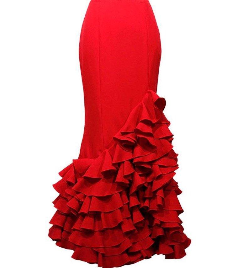 2019 Red Mermaid vrouwen Rokken Tiered Ruche Mode Maxi Lengte Custom Made Nieuwe Collectie Party Rokken Elegante-in Rokken van Dames Kleding op  Groep 1