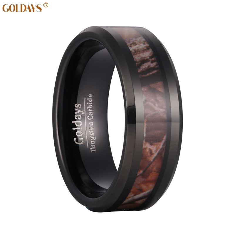 goldays 8mm mens black camo hunting camouflage tungsten wedding rings band jungle tree inlay finished - Orange Camo Wedding Rings