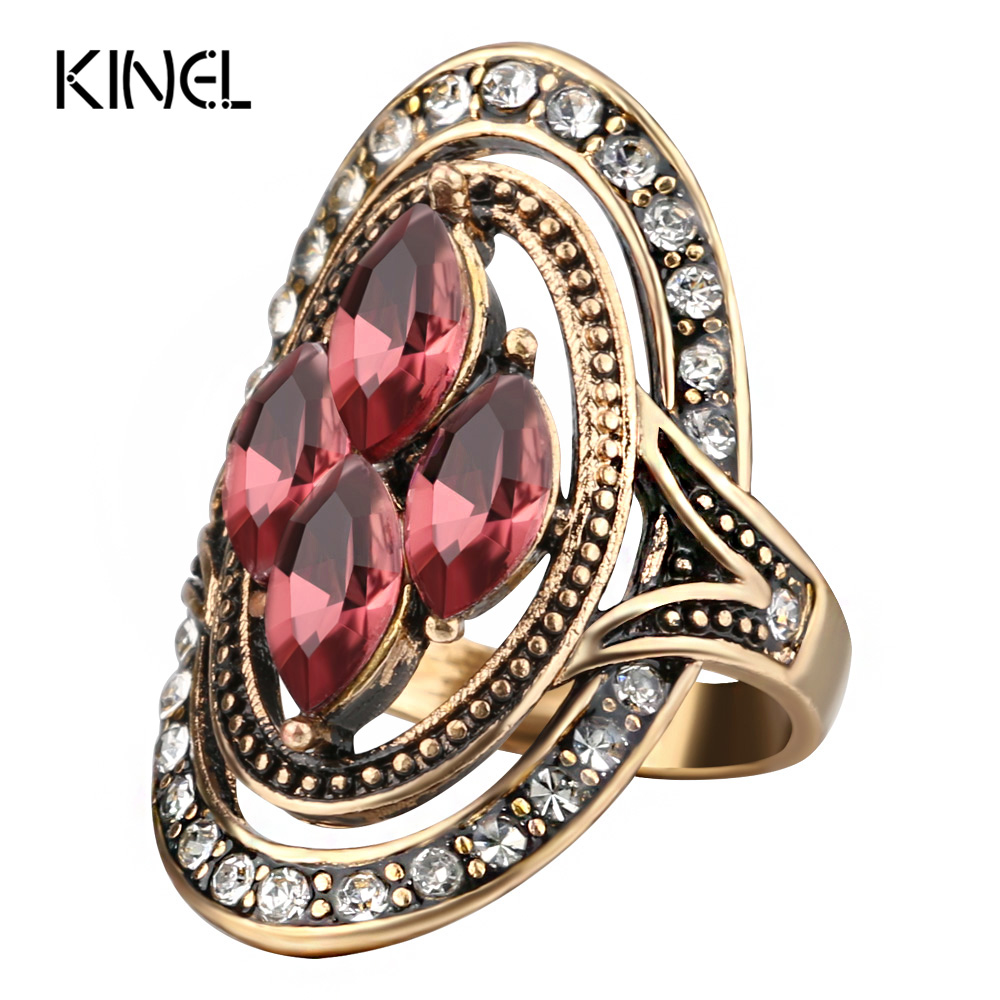Kinel Fashion Purple Crystal Rings Bijoux Femme Antique