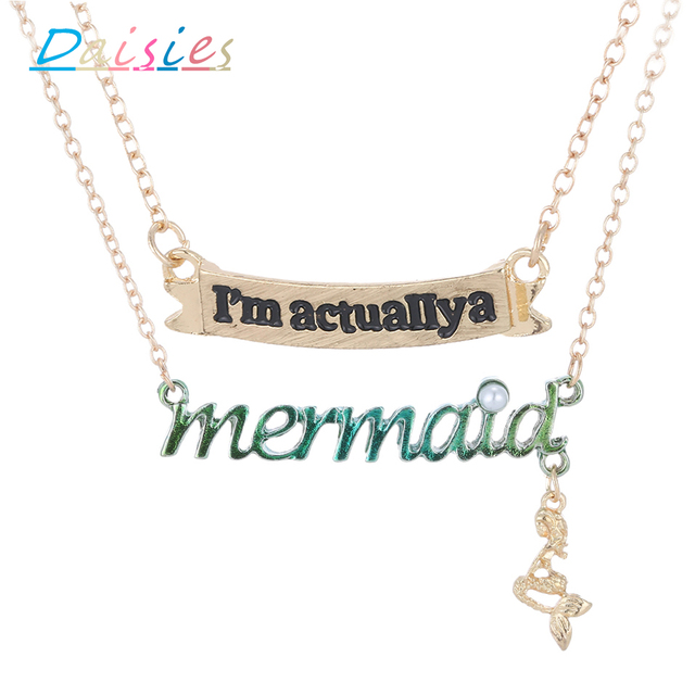 """Daisies """"I am actually a mermaid"""" Letter Pendant Charms 2pcs/lot Trendy Jewelry For Women Lucky Girls Party Gift"""