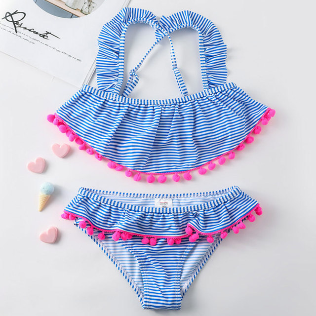 6-14 Years Teenager Girl Bikini Set Striped Girl Swimsuit Kids Cross Bandage Two Piece Children Swimwear Cute Swimming Suit Girl