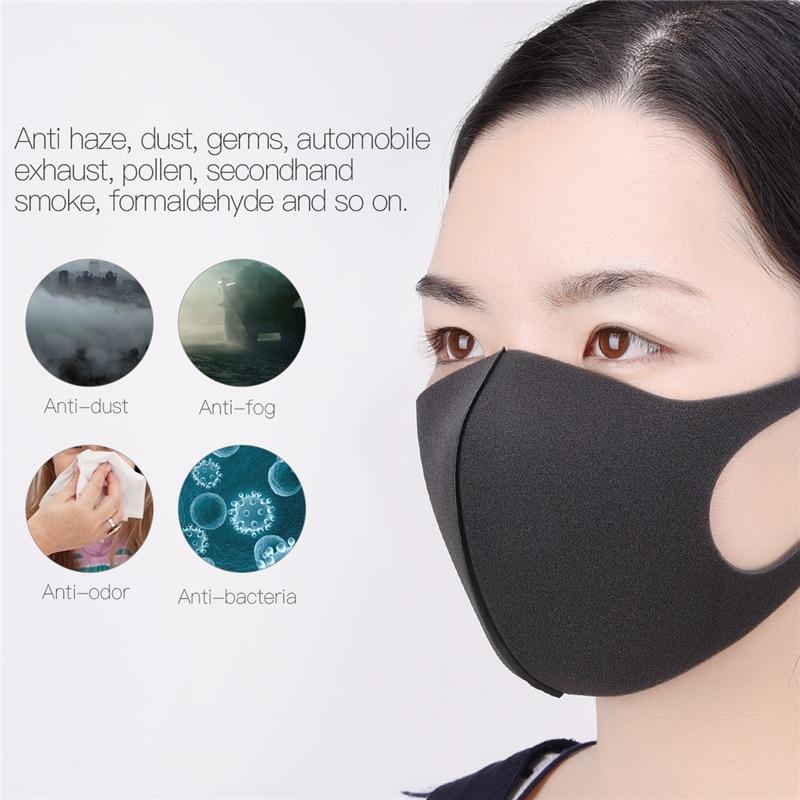 3 Pcs Sponge Mouth Mask Unisex Black Kpop Face Mask Washable Anti Dust Fog Nose Cover Bacteria Proof Breathable Face Shield 0