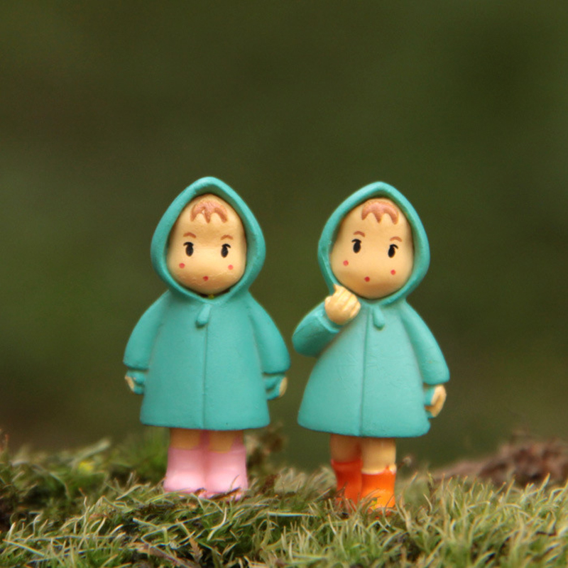 2pcs/lot Studio Ghibli Miyazaki Hayao My Neighbor Totoro Raincoat Mei May PVC Action Figure Toys Collection Model Toy for Kids