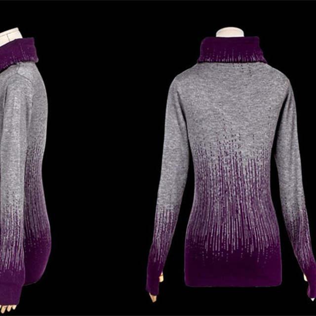 64dc6946ce Gradiente de Preto Azul das mulheres Do Vintage Camisola de Malha de  Cashmere Mulheres Suéteres E
