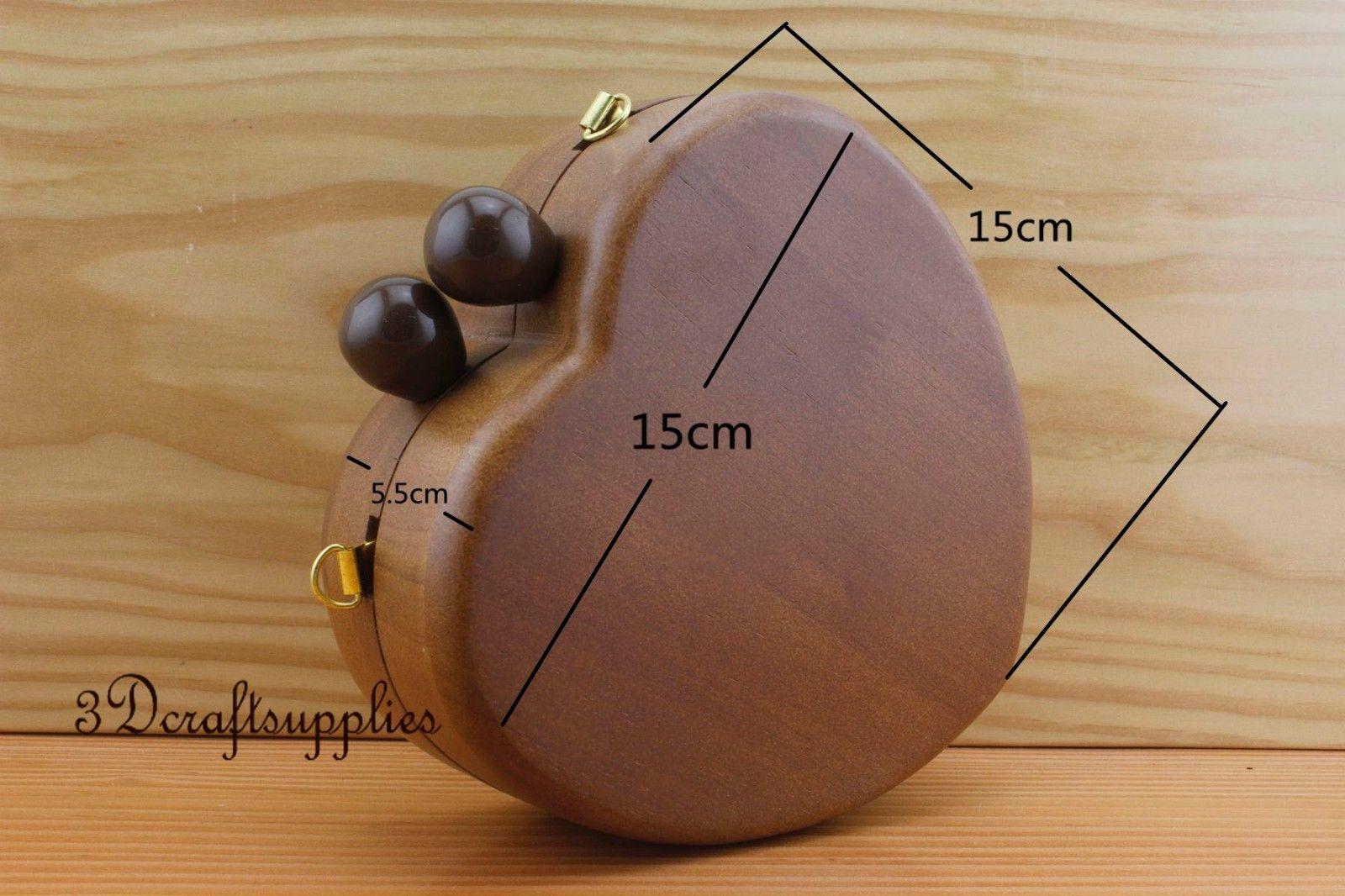 wood purse frame wooden box heart shape dark brown 6 inch x 6 inch M76