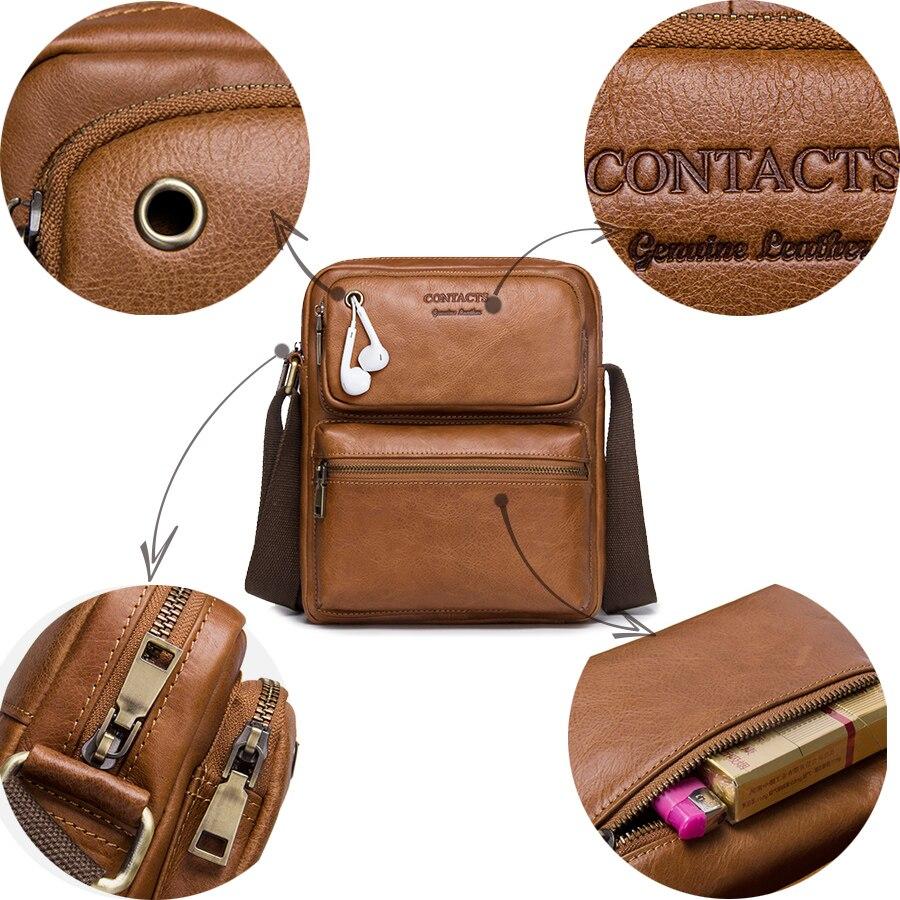 CONTACT'S 2018 nouveauté en cuir de vachette véritable Bolsa sacs à bandoulière pour hommes sacs à bandoulière pour hommes sac Messenger sac de Style masculin - 6