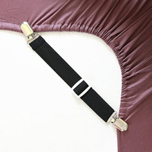 Adjustable Bed Sheet Holders Fasteners Grippers Clips Suspenders  Clip Straps Set of 4