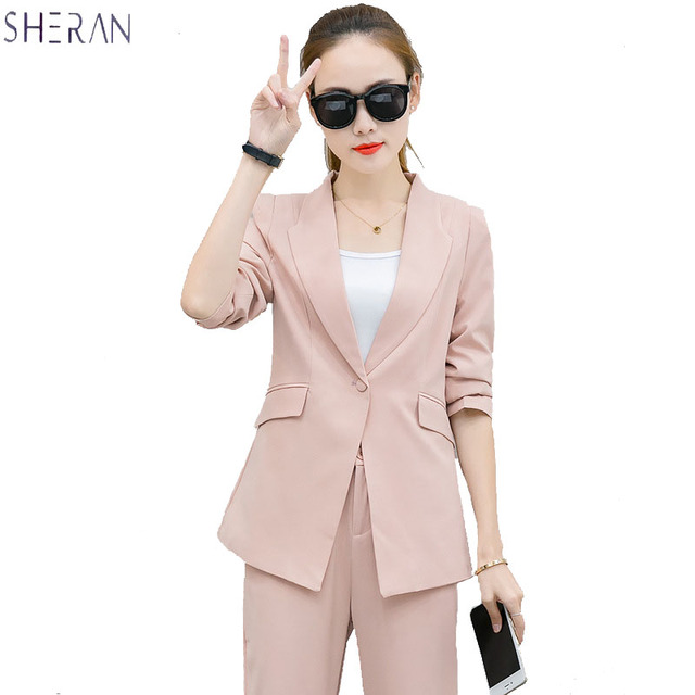 SHERAN 2018 Spring Suit Elegant Office Lady Business Suits Female Two Piece Sets Femme Three Quarter Jackets and Trouser suits