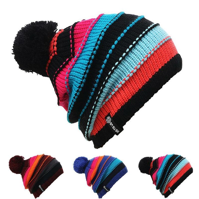cbba4a304abc இUnisexe Hommes Femmes Ski Chapeaux D hiver Au Chaud À Tricoter De ...