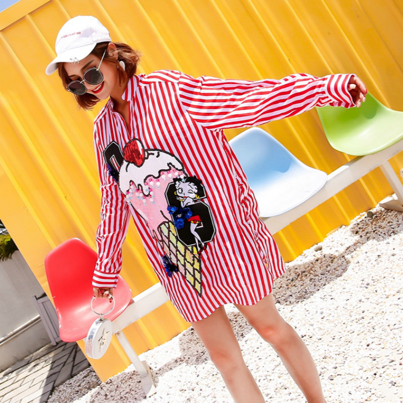 With Stand Roupa Shirt Sequin Casual Tops 2018 Women Spring Oloey Long Blouse A722 Feminina Red Collar Striped And Blouses EwHqRFAcIz