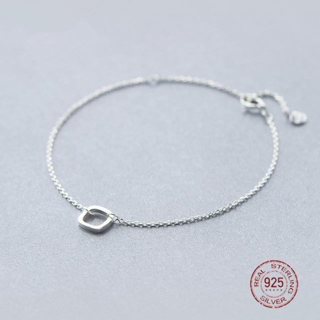 Simple Love 925 Sterling Silver Geometric Square Charm Thin Bracelet Women