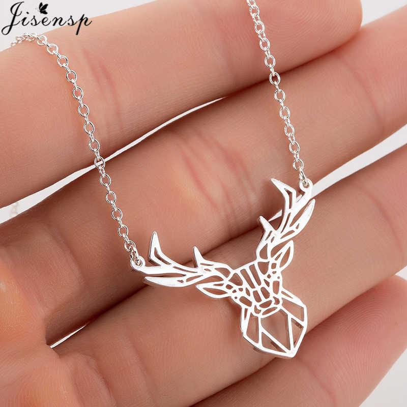 Jisensp Stainless Steel Necklace Origami Deer Charm Necklace Women Boho Antler Horn Animal Collier Christmas Jewelry Everyday