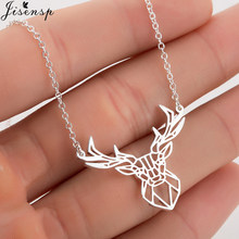 Jisensp Stainless Steel Necklace Origami Deer Charm Necklace Women Boho Antler Horn Animal Collier Christmas Jewelry Everyday(China)