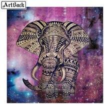 Peinture d'éléphants 5d à faire soi-même, kit complet de broderie de strass 3d carrés, mosaïque d'animaux, décoration de maison, EL8