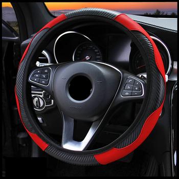 Osłona na kierownicę do samochodu oddychająca skóra PU pokrywa koła dekoracja samochodu osłona kierownicy z włókna węglowego Cubre Volante Auto tanie i dobre opinie CARSUN CN (pochodzenie) Carbon Fiber+PU leather Kierownice i piasty kierownicy wheel cover 38cm MU1178776